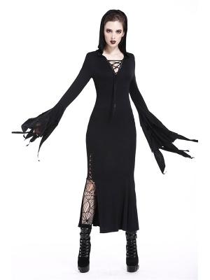Gothic Long Sleeves Hollow Slit Hem Hooded Long Dress