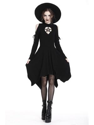 Gothic Punk Open Shoulder Long Sleeves Hollow Irregular Dress