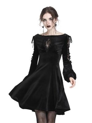 Gothic Boat Neckline Hollow Long Sleeves Velvet Dress