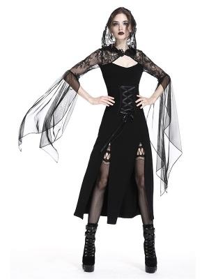 Gothic Long Sleeves Double Slit Hem Lace Hooded Long Dress