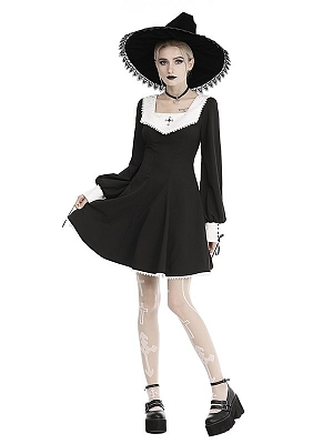 Gothic Square Neckline Long Sleeves Dress