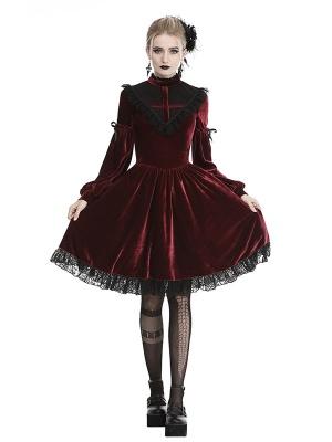 Gothic Red Ghost Blood Cross High Neckline Long Sleeves Velvet Dress
