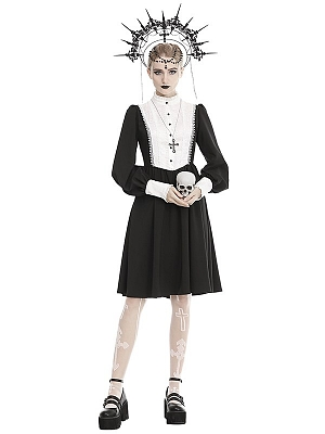 Gothic High Neck Long Sleeves Buttons Front Dress