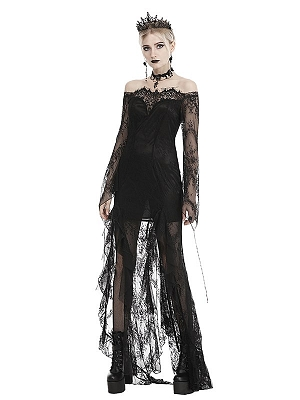 Gothic Off-the-shoulder Neckline Long Sleeves Lace Long Dress