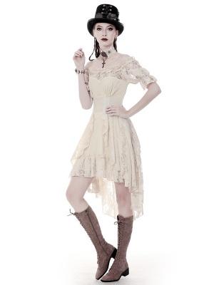 Steampunk Off-the-shoulder Neckline Short Sleeves Asymmetrical Dress