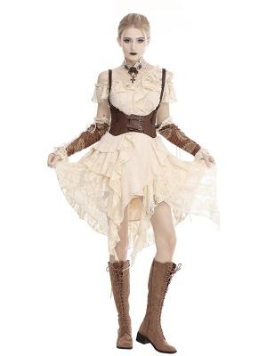 Steampunk Ruffled Open Shoulder Short Sleeves Irregular Lace Dress