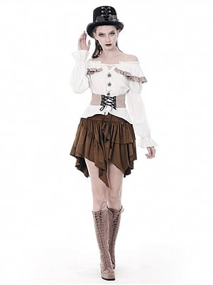 Steampunk Off-the-shoulder Neckline Long Sleeves Top with Girdle