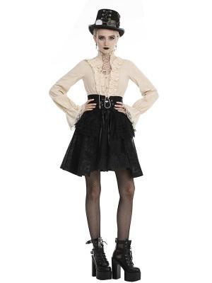 Steampunk High Waist PU Leather Skirt