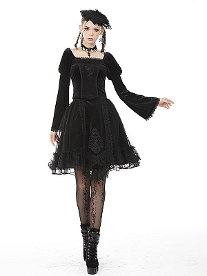 Gothic Victoria Square Neckline Long Sleeves Top