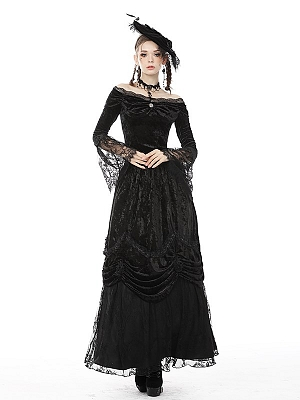 Gothic Victoria Off-the-shoulder Neckline Long Sleeves Top