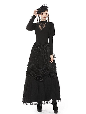 Gothic Stand Collar Long Sleeves Sexy Rose Hollow Top