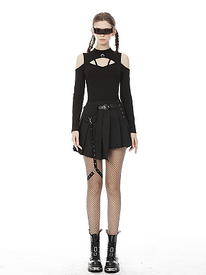 Punk Stand Collar Open Shoulders Long Sleeves Top
