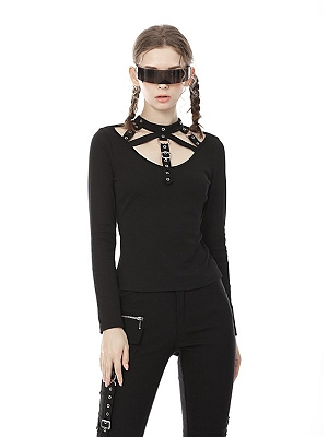 Punk Stand Collar Long Sleeves Hollow Top