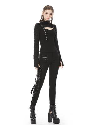 Punk High Neck Long Sleeves Eyelet Webbing Decorative Top