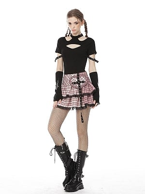 Punk Y2K Heart-shaped Patches Plaid Tiered Skirt