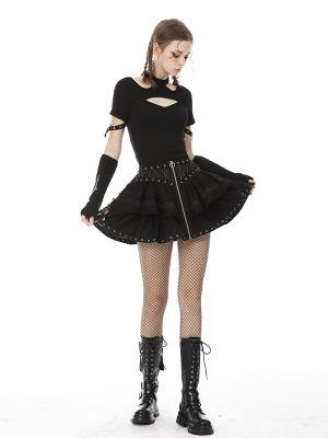 Punk Zipper Front Eyelet Cross String Lace Skirt
