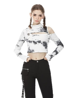 Punk Stand Collar Open Shoulders Long Sleeves Tie-dye Cropped Top