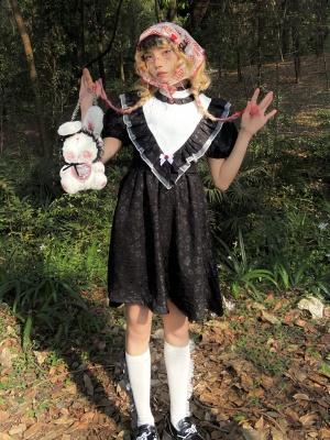 Vintgae Gothic Stand Collar Short Puff Sleeves Floral Print Dress