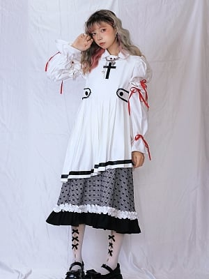 Gothic Square Neckline Cross Removable Hem Pleated Overall Dress