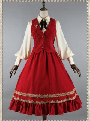 Song of Red and Blue Turndown Collar Long Sleeves Lolita Shirt / Vest / SK Full Set