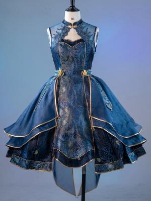 Custom Size Available Peacock Feather Qi Lolita Dress JSK by Doris Night