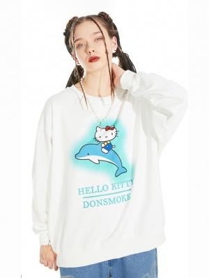 Sanrio Authorized Hello Kitty Round Neckline Prints Sweatshirt