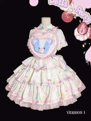 Cream Cake Tiered Flounce Skirt Sweet Lolita Overall Dress