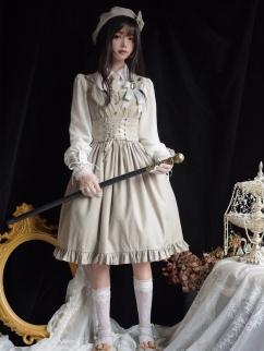 Back to School Classic Lolita Dress Matching Girdle / Beret