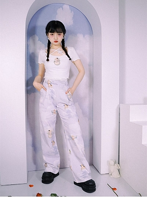 Peace and Joy Cloud Angel Print Wide Legs Pants by Day to Day