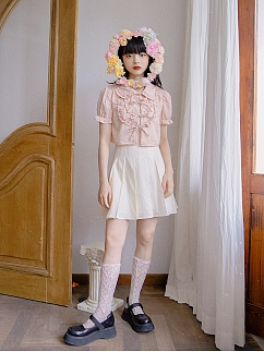Absurd Garden Peter Pan Collar Short Puff Sleeves Heart-shaped Jacquard Shirt by Day to Day