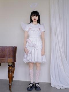 Absurd Garden Square Neckline Butterfly Jacquard Lolita Dress JSK by Day to Day
