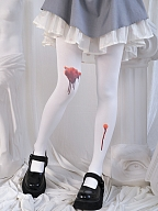 Halloween Wounded Blood Stains Printed 120D Velvet Tights