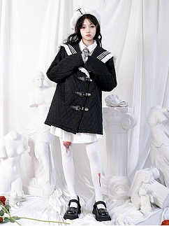 Black and White Plaid Navy Collar Long Sleeves Padded Coat