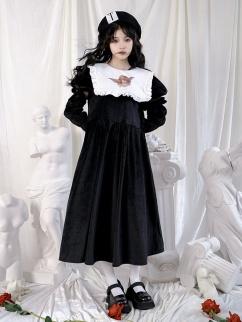 Sheep Angel Print Fake Collar Puff Sleeves Velvet Long Dress
