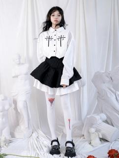 Cross Rose Embroidered Turndown Collar Long Sleeves Shirt