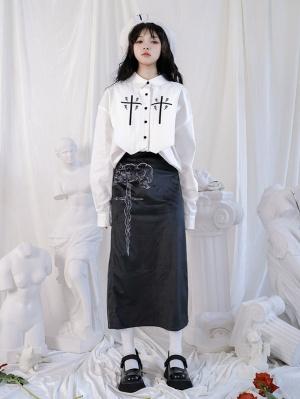 Maiden Sabre High Waist High Slit Print Skirt