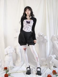 Jacquard Elastic Waist Shorts