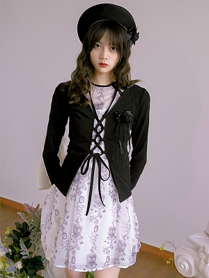 Absurd Garden V-neckline Criss-cross Front Self-tie Strings Cardigan by Day to Day