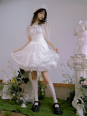 Absurd Garden Off-the-shoulder Short Puff Sleeves Dress by Day to Day