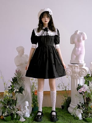 Absurd Garden Short Puff Sleeves Butterfly Cutout  Dress by Day to Day