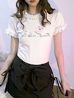 Absurd Garden Ruffled Short Sleeves Prints T-shirt by Day to Day