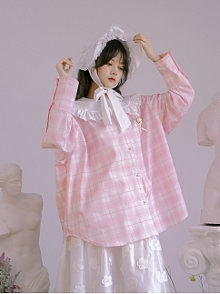 Absurd Garden Peter Pan Collar Long Sleeves Shirt by Day to Day