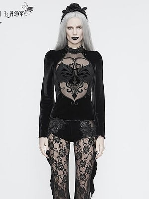 Gothic Stand Collar Long Trumpet Sleeves Hollow Out Font Embroidery Top
