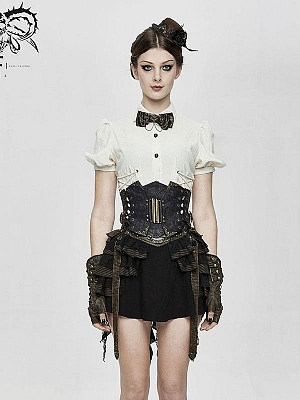 Steampunk Curly Grain Texture Lace-up Leather Corset