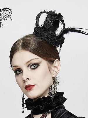 Gothic Cross Crown with Feather