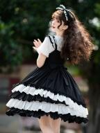 Black Sugar Sweetheart Square Neckline Lolita Dress JSK by Eieyomi