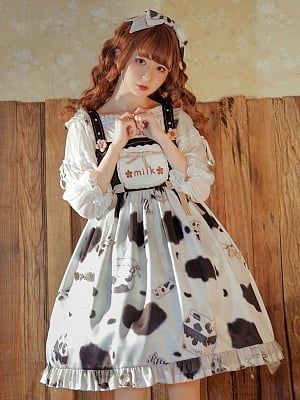 Sweet and Greasy Milk Candy Square Neckline Lolita Dress JSK by Eieyomi