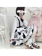 Sweet and Greasy Milk Candy Lolita Overall Skirt / Long Sleeves Shirt by Eieyomi