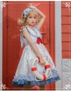 Blueberry Rabbit Navy Collar Sweet Lolita Dress JSK by Eieyomi