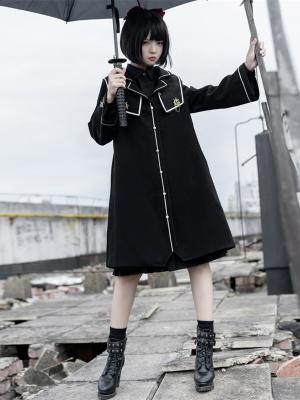 JK Lapel Collar Long Trumpet Sleeves Lolita Woolen Coat